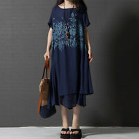 Women Casual Beach Fashion Lady Loose Short Sleeve Cocktail Party Long Dress