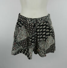 Topshop Dress Shorts Sz 2 Black White Red Loose Flowy Floral Paisley Pockets