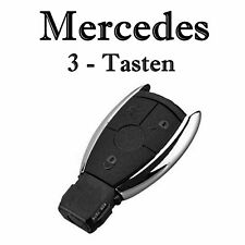 1x Autoschlüssel Chrom Gehäuse für Mercedes 3-Tasten Infra Fernbedienung KS18NO