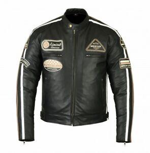 Herren Lederjacke cruiser Jacke Motorrad Oldschool Chopper Rindleder Jacke Neu