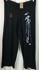 BABA Clothing Black Yoga Pants Asian Print Drawstring Women Size XS  34 x 30 1/2