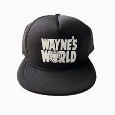 Vintage WAYNE'S WORLD TRUCKER HAT ~ BLACK MESH Cap Retro 90s
