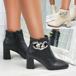 New Womens Chain Block Heeled Square Toe Ankle Boots Shoes Sizes 3-8