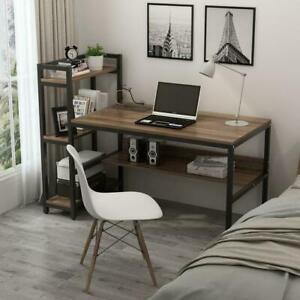 Wooden Gaming Computer Desk 136CM Writing Study Table Adjustable Storage Shelves