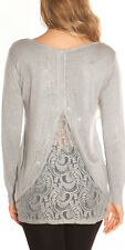 LOOSE FITTED LONG SLEEVED JUMPER ONE SIZE 10 12 14 LACE BLING GREY SPARKLE