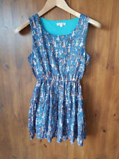VINTAGE PRINT LONGLINE VEST TOP Green Tunic Summer UK 8 / EUR 36 - VGC