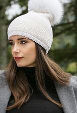 Kyi Kyi Hat Beanie Pom Pom Real Fox Fur Cap Winter White Cream Ivory NWT Blogger