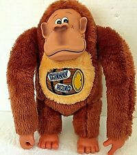 "eTone Vintage 5"" Plush Donkey Kong Doll with Rubber Face and Barrel on Chest"