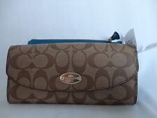 NWT Coach Sign PVC Slim Envelope Wallet with Pouch in Khaki / Teal