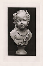 1800s Jean-Antoine HOUDON Antique Print Bust of a Child with Flowers FRAMED COA