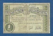 AJUNTAMENT DE FONTS DE SACALM -- 1 PESETA ( 1937 ) -- BC -- 1ª EMISION .