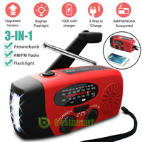 Emergency Solar Hand Crank Dynamo AM/FM/NOAA/WB Weather Radio LED Torch Charger