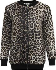 Cappotti e giacche da donna fantasia stampa animalier a lunghezza lunghezza ai fianchi con cerniera