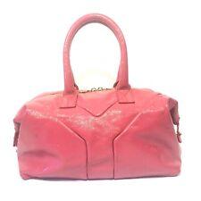 YVES SAINT LAURENT Easy Y Pink Patent Leather Zip Satchel Handbag (MSRP $1,500)