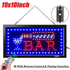 19*10'' Led Light Bar Club Sign Animated Motion +On/Off Switch Open Light Neon