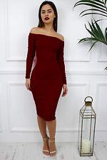 Glamzam New Womens Ladies Burgundy Off Shoulder Bardot Long Sleeve Midi Dress