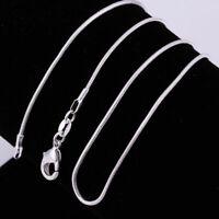 Großhandel 925sterling massivem Silber verlost 1X 1mm Halskette 1 Schlangen U6E3