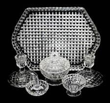 Vintage clear depression glass art deco geometric dressing table vanity set