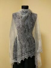 "Traditional Shawl Russian hand-knitted scarf goat wool ""Gentle grey"""
