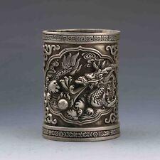 Chinese Tibeten Silver Handwork Carved Dragon Brush Pot