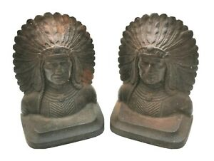 Stunning Antique cast iron Native American chief bookends