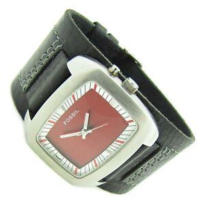 Fossil BIG TIC Herren Armbanduhr Leder schwarz rot BG-1039 5ATM Batt neu N156