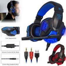 Gaming Headset Kopfhörer mit Mikrofon 3.5mm LED-Licht für PC Laptop Computer PS4