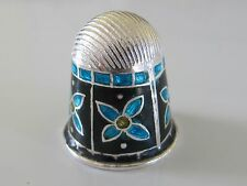 STERLING SILVER AND ENAMEL THIMBLE - HANDMADE IN INDIA - NEW (#16)