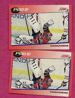 2 X 1991-92 SCORE # 75  MONTREAL CANADIENS PATRICK ROY BILINGUAL CARD