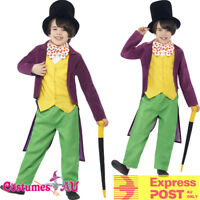 Kids Roald Dahl Willy Wonka Costume Chocolate Factory Boys Book Week Fancy Dress