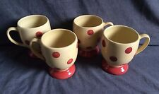 Southern Living at Home Gail Pittman Siena Polka Dot Mugs Cups Set of 4  EUC