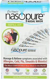 Dr. Hana's Nasopure 40 Saline Packets Nasal Wash System Refill Kit BPA-Free 9/24