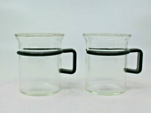 Bodum Bistro Short Hot Iced Clear Glass Coffee Tea Mug Cup Set of 2 Black Handle