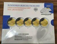 2 Euro Gedenkmünzenset BRD 2007 Schwerin ADFGJ + PP + im Blister ADFGJ