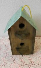 Rustic Cedar Birdhouse With 2 Compartments and tin roof