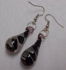Beautiful murano glass earrings tear drop shaped clear with black white swirls