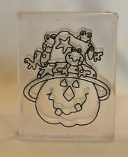 Acrylic Mounted Rubber Stamp Halloween Pumpkin Witch Frogs Stars Provo Craft