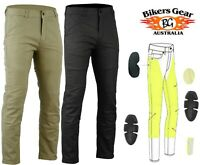 Australian Bikers Gear Motorcycle Trousers Chino Stretch Jeans Lined with Kevlar