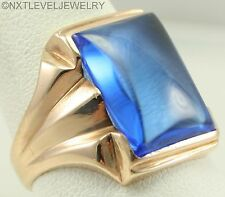 Antique 1920s Art Deco LARGE Ceylon Blue Spinel 10k Solid Yellow Gold Men's Ring