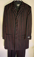 Alberto Celini  3-piece Zoot Suit. Black W/ Red Stripes. Size 44