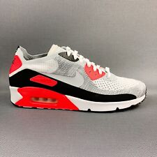 """Nike Air Max 90 Ultra 2.0 FlyKnit """"Infrared"""" White Gray Red 875943 100 Men SZ 12"""