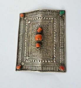 Antique Tibetan Silver Coral Turquoise Hair decoration / Tibet- tribal jewelry j