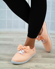 New Womens Casual Plimsolls Bow Lace Up Pumps Flat Comfy Canvas Shoes Sizes 3-8