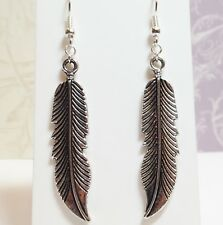 FEATHER_Large Charm Earrings on Silver Plated Hooks_Eagle Wings Bird Native_26E