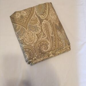 "Brown Blue Paisley Curtain Panel Waverly Cashmere Pearl 50"" x 83"""