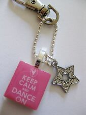 Dance Keyring Keep Calm and Dance On cyrstal star keyring~bag charm in pink Gift