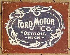 Ford Motor Co Detroit Tin Sign Vintage Logo Metal Poster Garage Wall Decor 1707