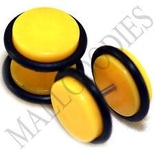 "X121 Fake Cheater Illusion Faux Ear Plugs 16G Bar - 1/2"" = 12mm Yellow 2pcs SALE"