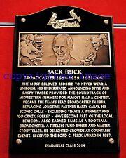 Jack Buck  Cardinals Announcer Busch Stadium 2014  HOF Plaque Color 8x10 A