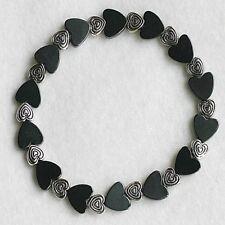 Magnetic Hematite Black Hearts Love Stylish Beaded Bracelet Valentines Day Gift